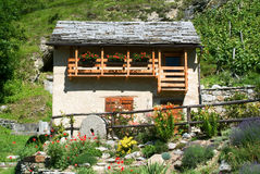 Rural house at the village of Acquarossa on Blenio valley Stock Photos