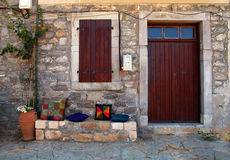 Rural house with wooden doorway(Crete, Greece) Royalty Free Stock Images