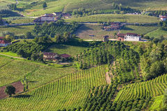 Rural houses among green hills and vineyards of Piedmont, Northe Stock Photos