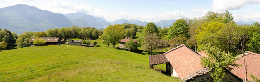 Rural houses on the mountains over Lugano Royalty Free Stock Photos