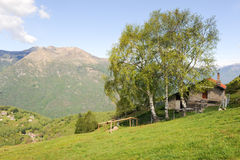 Rural houses on the mountains over Lugano Stock Images