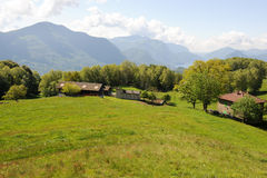 Rural houses on the mountains over Lugano Royalty Free Stock Images