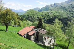 Rural houses on the mountains over Lugano Stock Image