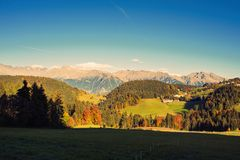 A rural houses on the surroundings of Merano in the province of Bolzano at the late autumn. A rural house on the surroundings of Merano in the province of stock photography