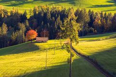 A rural houses on the surroundings of Merano in the province of Bolzano at the late autumn. A rural house on the surroundings of Merano in the province of stock images