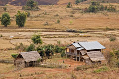 Rural houses in Xieng Khouang, Laos. Rural houses in the sparse fields of Xieng Khouang, Laos Stock Photography
