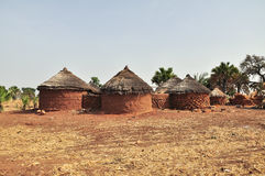 Rural housing in Africa. Round brick huts near Grottes de Nok in Togo in rural Western Africa Royalty Free Stock Photos