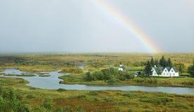 Rural Icelandic church, Pingvellir national park Royalty Free Stock Images