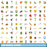 100 rural icons set, cartoon style Stock Photos