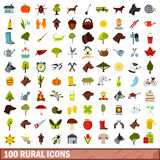 100 rural icons set, flat style Royalty Free Stock Photo
