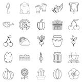 Rural icons set, outline style. Rural icons set. Outline set of 25 rural vector icons for web isolated on white background Stock Photo