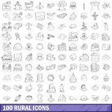 100 rural icons set, outline style Royalty Free Stock Photography