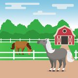 Rural illustration with grazing horses royalty free illustration