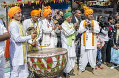 Rural indian artists playing music instruments Stock Image
