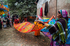 Rural Indian Women drying sari Royalty Free Stock Photos