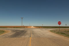 Rural Intersection in the Texas South Plains Stock Images