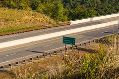 A rural Interstate sign in Virginia. Highway near Front Royal, West Virginia during the Fall royalty free stock images