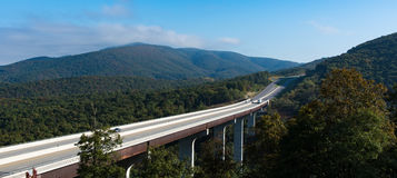 A rural Interstate Viaduct through a forest in Virginia Royalty Free Stock Photos