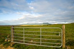 Rural Ireland. Rural scene from Co.Sligo, Ireland, showing gate and fields with mountains in far distance Stock Photos