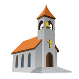 Rural isolated church for catholics with bell vector. Illustration Stock Image