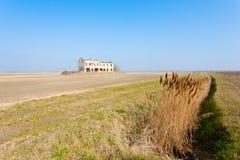 Rural Italian landscape from Po river lagoon. Royalty Free Stock Photo