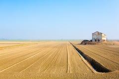 Rural Italian landscape from Po river lagoon. Stock Photos