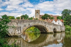 Rural Kent. View of Aylesford village in Kent, England with medieval bridge and church Stock Image
