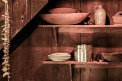 Rural kitchen articles. This is a photo inside a rustic farm house Stock Photo
