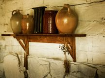 Rural kitchen articles. This is a photo inside a rustic farm house Stock Images