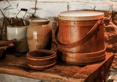 Rural kitchen articles. This is a photo of a rustic dinner table Royalty Free Stock Image