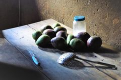 Rustic kitchen table with fresh avocadoes royalty free stock photos