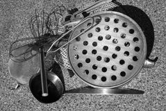 Rural kitchen utensil - strainers on the table Stock Image