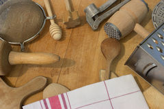 Rural kitchen utensils with dish towel Stock Photo