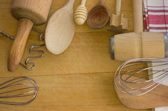 Rural kitchen utensils with free text space Stock Photos