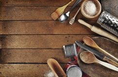 Rural kitchen utensils. On wooden table Royalty Free Stock Image