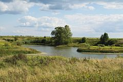 Rural Lake in Nizhny Novgorod region. Meadows and expanses of theEuropean part of Russia Stock Photos