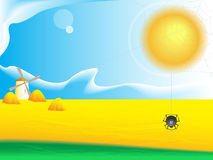 Rural landscape. A background with a web, a mill and clouds in a vector illustration