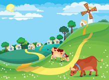 Rural landscape. The illustration of country landscape with the village houses and cows grazing in the meadow Royalty Free Stock Photo