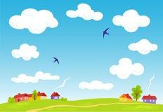 Rural landscape. Vector summer background. Illustration Stock Photography