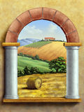 Rural Landscape. Beautiful tuscan landscape seen through a window. Hand painted digital illustration Royalty Free Stock Photo