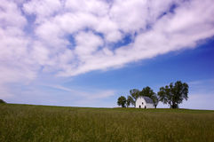 Rural landscape. A barn in Iowa on a beautiful day in May royalty free stock images