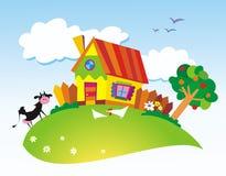 Rural landscape. With farm animals vector illustration
