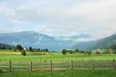 Rural landscape. With fence in foreground, taken in Lungau/Salzburg, Austria Royalty Free Stock Image