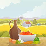 Rural landscape abstract illustration poster Royalty Free Stock Images
