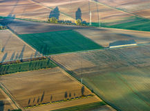Rural landscape with acre from hot air balloon Royalty Free Stock Images