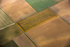 Rural landscape with acre from hot air balloon Stock Photography