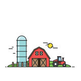 Rural landscape. Agriculture and Farming illustration.  Stock Photo