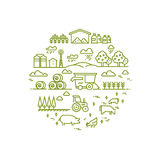 Rural landscape and agriculture farming thin line icons. Farm round badge with chicken and agriculture illustration stock illustration