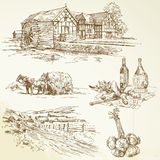 Rural landscape, agriculture, old watermill stock illustration