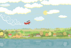 Rural landscape with aircraft. Vector illustration Stock Photography